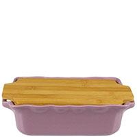 Прямоугольная керамическая форма для выпечки Appolia сиреневого цвета с крышкой-дощечкой из бамбука, фото