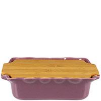 Форма для выпечки Appolia 33,5х20,4см сиреневого цвета с крышкой-дощечкой из бамбука, фото