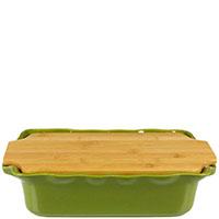 Форма для выпечки Appolia зеленого цвета с крышкой-дощечкой из бамбука, фото