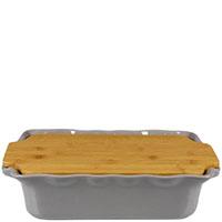 Форма для выпечки Appolia 37,3х23,2см из кекрамики с крышкой-дощечкой из бамбука, фото