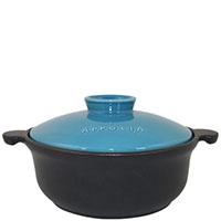 Круглая кастрюля Appolia 1,5л черного цвета с голубой крышкой, фото