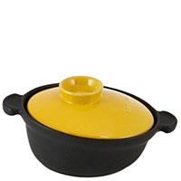 Керамическая кастрюля-кокот Appolia 2л черного цвета с желтой крышкой, фото