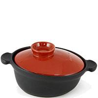 Керамическая кастрюля-кокот Appolia 6л черного цвета с красной крышкой, фото
