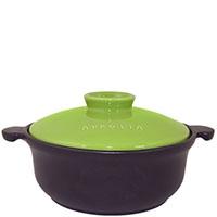 Керамическая кастрюля Appolia 1,5л черного цвета с зеленой крышкой, фото
