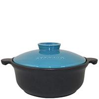 Круглая кастрюля Appolia 3,1л черного цвета с голубой крышкой, фото