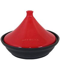 Тажин Appolia из керамики черного цвета с красной крышкой 3 л, фото