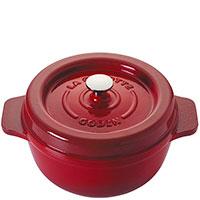 Красная кастрюля с крышкой Godin 4,5л, фото