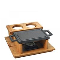 Тарелка Lava Hot Plate на деревянной подставке, фото