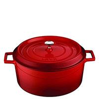 Кастрюля Lava Folk красного цвета из чугуна, фото
