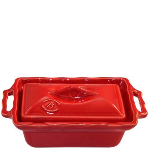 Керамическая прямоугольная форма Appoli красного цвета с крышкой, фото