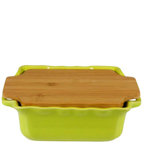 Керамическая форма для выпечки Appolia зеленого цвета с крышкой-дощечкой из бамбука, фото