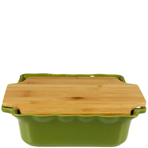 Большая форма для выпечки Appolia из керамики с крышкой-дощечкой из бамбука, фото