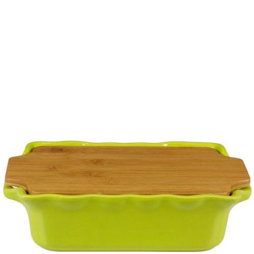 Прямоугольная форма для выпечки Appolia из керамики с крышкой-дощечкой из бамбука, фото