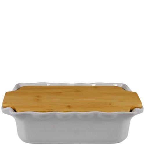 Форма для выпечки Appolia серого цвета с крышкой-дощечкой из бамбука, фото