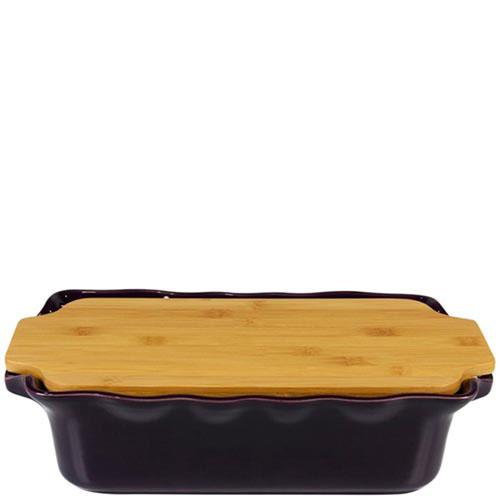 Прямоугольная форма для выпечки Appolia фиолетового цвета с крышкой-дощечкой из бамбука, фото