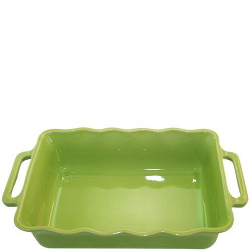 Керамическая прямоугольная форма для выпечки Appolia зеленого цвета с ручками, фото