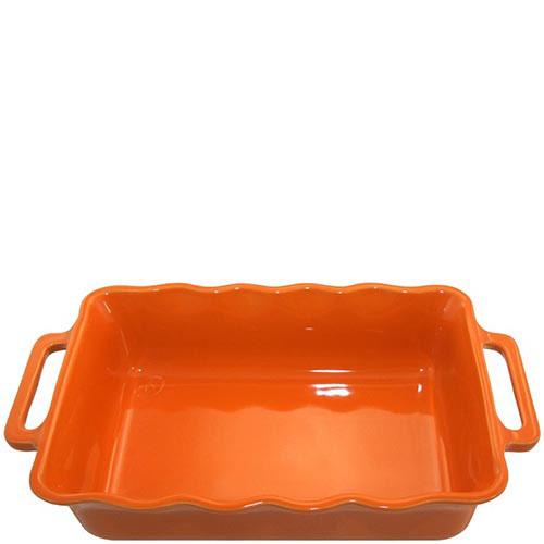 Керамическая прямоугольная форма для выпечки Appolia оранжевого цвета с ручками, фото