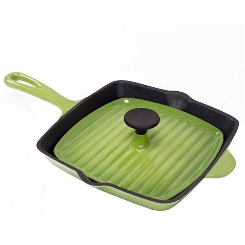 Сковорода-гриль Mario Batali с крышкой-пресс черно-зеленая, фото