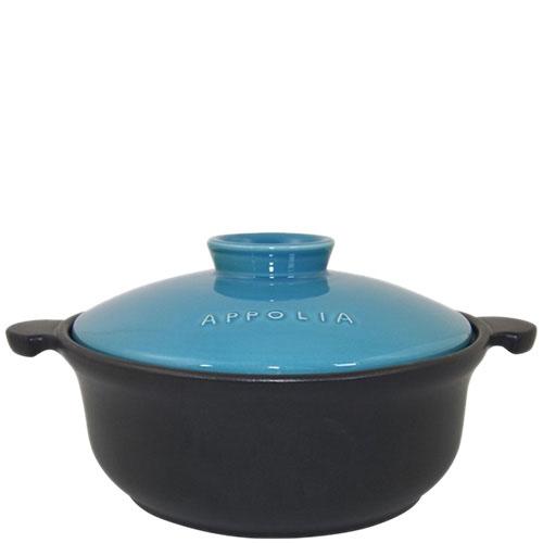Керамическая круглая кастрюля Appolia черного цвета с голубой крышкой 1.5 л, фото