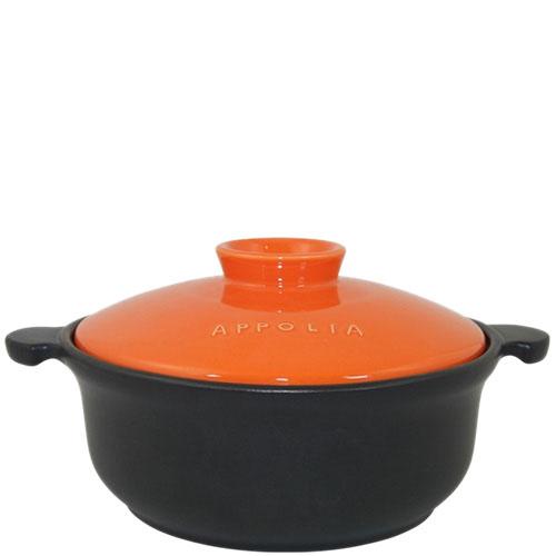 Керамическая круглая кастрюля Appolia черного цвета с оранжевой крышкой 1.5 л, фото