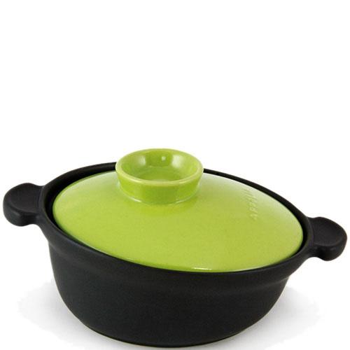 Керамическая кастрюля-кокот Appolia черного цвета с зеленой крышкой 6 л, фото