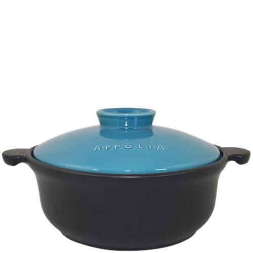 Керамическая круглая кастрюля Appolia черного цвета с голубой крышкой, фото