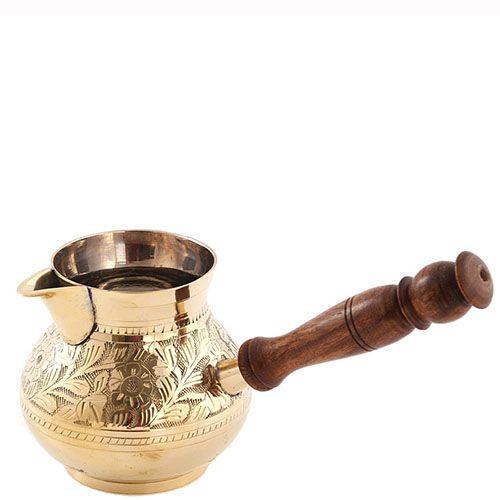 Турка из латуни Sri ram с деревянной ручкой, фото