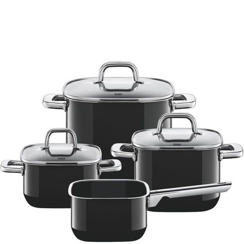 Набор Silit Quadro Black из 4 кастрюль с крышками и ковша