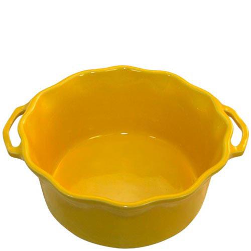 Керамическая форма для суфле Appolia желтого цвета с ручками и высокими бортами