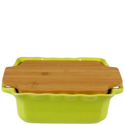 Керамическая форма для выпечки Appolia зеленого цвета с крышкой-дощечкой из бамбука