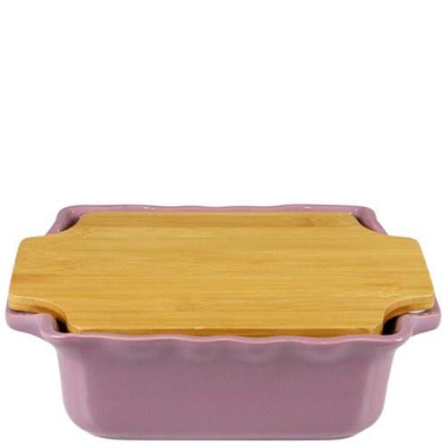 Керамическая форма для выпечки Appolia сиреневого цвета с крышкой-дощечкой из бамбука