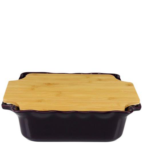 Большая форма для выпечки Appolia из керамики с крышкой-дощечкой из бамбука
