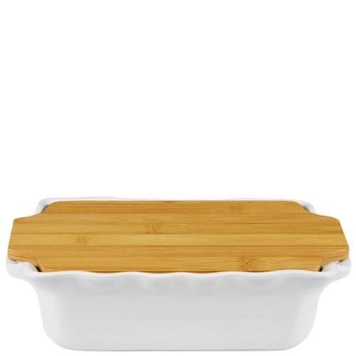 Керамическая прямоугольная форма для выпечки Appolia серного цвета с крышкой-дощечкой из бамбука