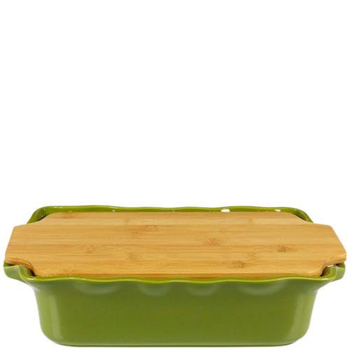 Форма для выпечки Appolia зеленого цвета с крышкой-дощечкой из бамбука