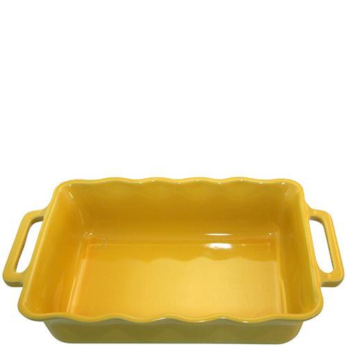 Керамическая прямоугольная форма для выпечки Appolia желтого цвета с ручками