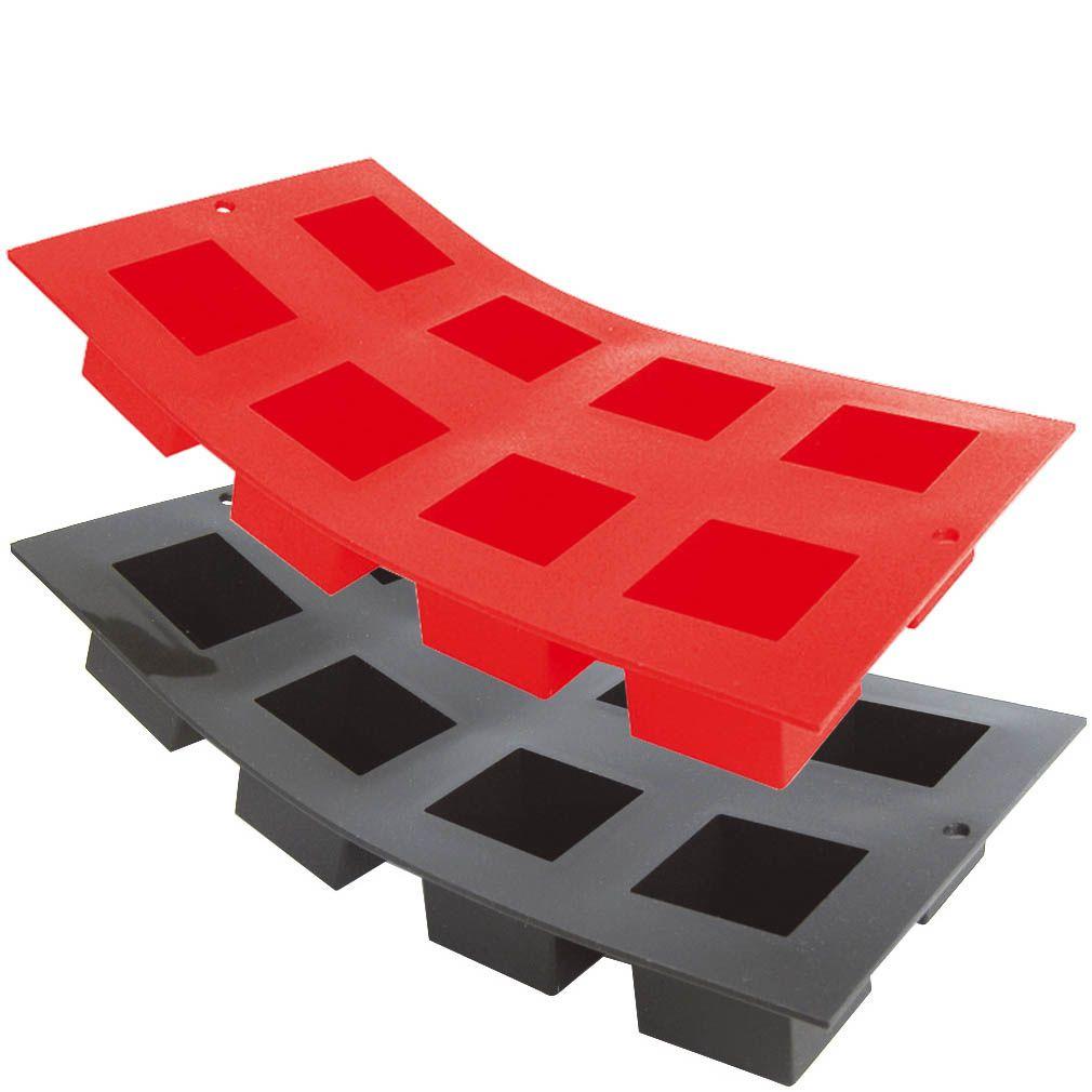 Форма для выпечки De Buyer Moul flex силиконовая красная на 8 кексов или маффинов