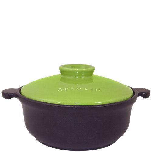 Керамическая круглая кастрюля Appolia черного цвета с зеленой крышкой 1.5 л