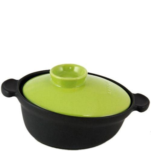 Керамическая кастрюля-кокот Appolia черного цвета с зеленой крышкой 2 л