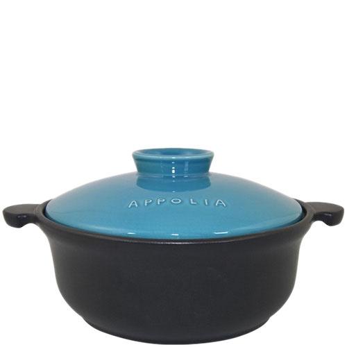 Керамическая кастрюля-кокот Appolia черного цвета с голубой крышкой