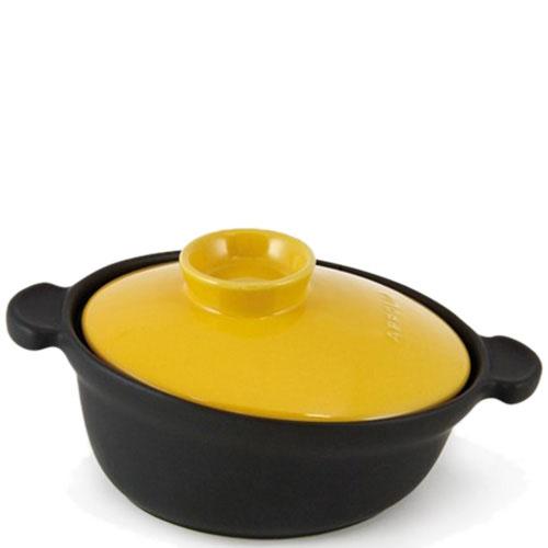 Керамическая кастрюля-кокот Appolia черного цвета с желтой крышкой 4 л