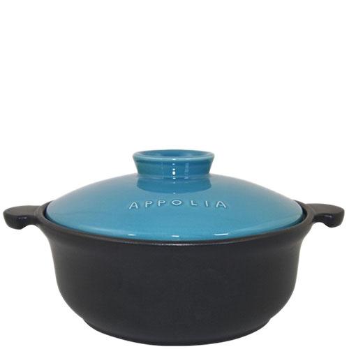 Круглая керамическая кастрюля Appolia черного цвета с голубой крышкой 3.1 л