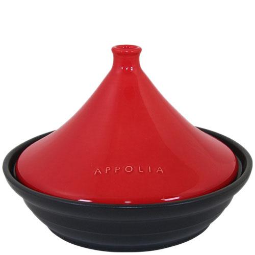 Тажин Appolia из керамики черного цвета с красной крышкой 3 л