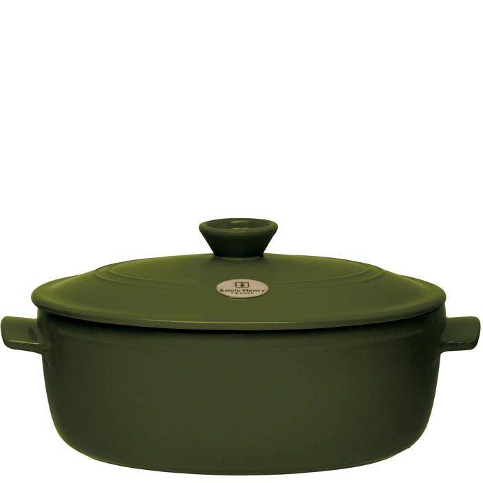 Кастрюля овальная Emile Henry Flame Olive 4,7 л керамическая с крышкой