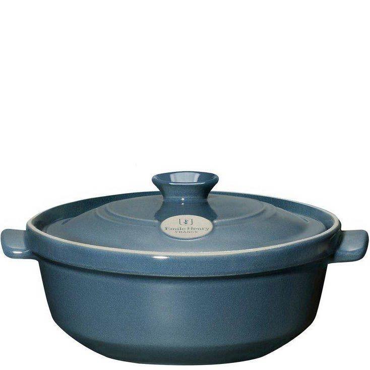 Казан Emile Henry Flame керамический жаропрочный 2,4 л синего оттенка Bleu Pavot