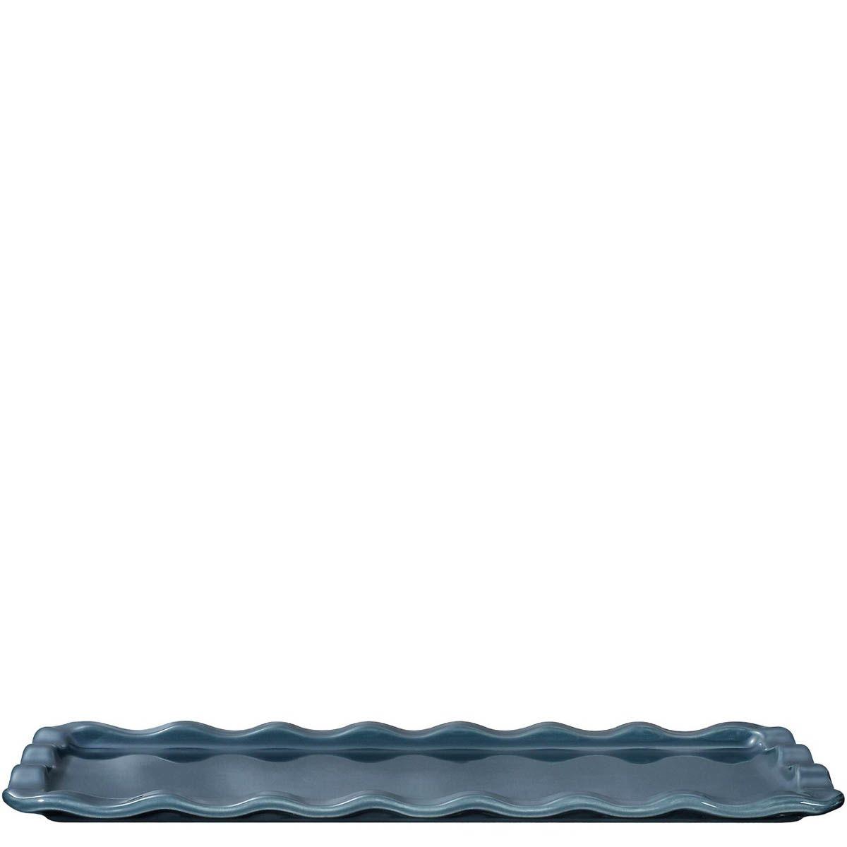 Форма-поднос Emile Henry Natural Chic Bleu Pavot 36х15 см для запекания и подачи