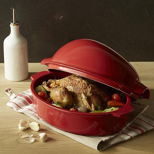 Форма Emile Henry Ovenware для запекания курицы с крышкой 3л, фото
